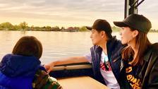 林志颖晒照与妻儿湖畔庆生看夕阳画面温馨十足