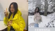 李嫣瑞士雪中漫步 晒回眸美照像极了王菲!